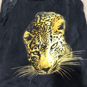 Zara Tops - 🍰Sale! Zara black sleeveless cheetah blouse.